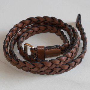 Genuine Leather Braided Skinny Belt